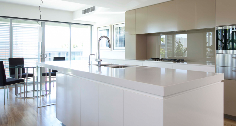 Superior White Caesarstone Kitchen Countertops Part - 8: Blizzard 2141 Kitchen Island Top With Mitered Edges